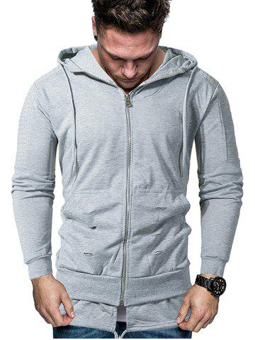 Solid Pleated Sleeve Ripped Faux Twinset Hoodie