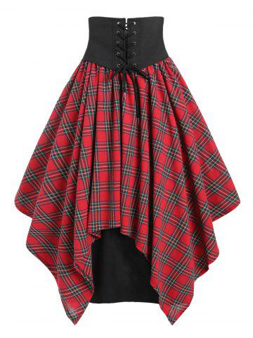 Lace Up Belted Plaid Maxi Skirt