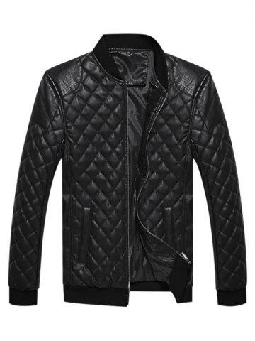 Geometric Print Faux Leather Casual Jacket
