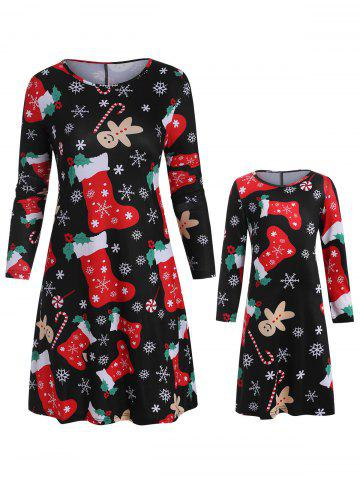 Christmas Mother Daughter Long Sleeve Casual Dress