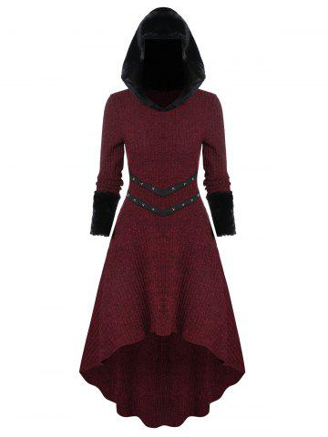 Knitted Furry Sleeve Hooded Dress