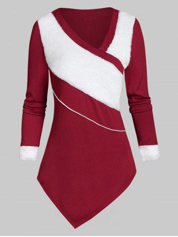 Asymmetric V Collar Christmas Sweater - RED - 3XL