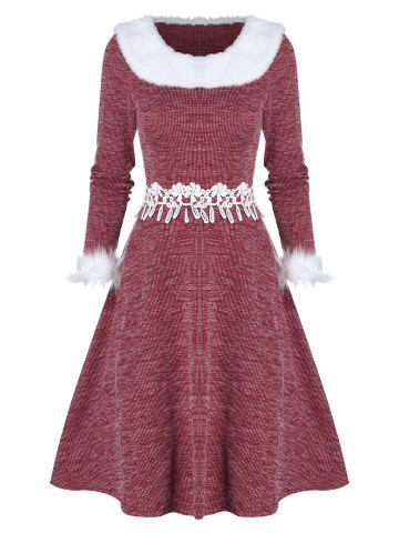Faux Fur Panel Fit And Flare Christmas Dress