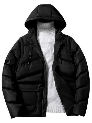Solid Color Zipper Hooded Puffer Jacket
