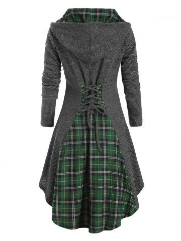 Plaid Hooded Horn Button Lace Up Dip Hem Cardigan