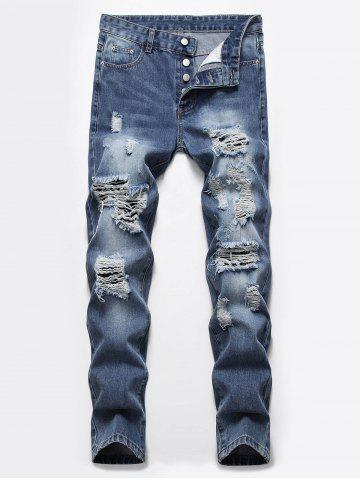 Destroyed Ripped Button Fly Casual Jeans - DENIM DARK BLUE - 42