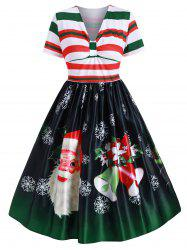 Plus Size Christmas Vintage Santa Claus Print Party Dress -
