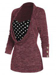 Polka Dot Print Button Embellished Ribbed Faux Twinset Sweater -
