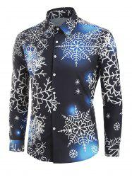 Christmas Snowflake Light Print Long Sleeve Button Up Shirt -