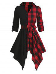 Contrast Plaid Handkerchief Long Sleeve Casual Dress -