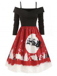 Christmas Elk Snowman Snowflake Open Shoulder Criss Cross Dress -
