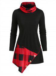 Plaid Panel Buttoned Cowl Neck Asymmetrical Top -