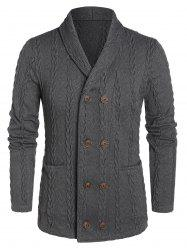Cable Knit Double Pocket Button Up Cardigan -