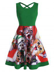 Cat Graphic Criss Cross Christmas Mini Dress -