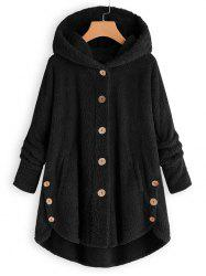 Plus Size Faux Shearling Buttons Hooded Coat -