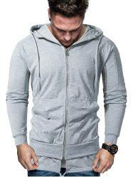Solid Pleated Sleeve Ripped Faux Twinset Hoodie -