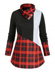 Plaid Panel Buttoned Cowl Neck Colorblock Top -