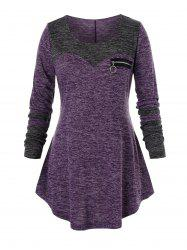Plus Size Pull Ring Zip Space Dye Curved Tunic Tee -