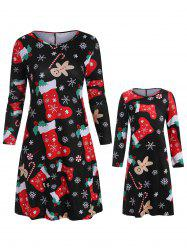 Christmas Mother Daughter Long Sleeve Casual Dress -
