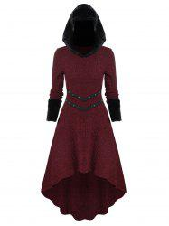 Knitted Furry Sleeve Hooded Dress -
