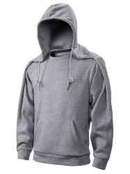 Convertible Collar Drawstring Fleece Hoodie -