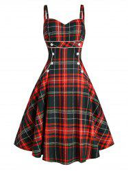 Plaid Button Embellished Sleeveless Rockabilly Style Dress -