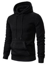 Contrast Sewing Front Pocket Fleece Hoodie -