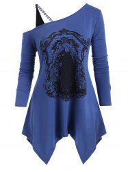 Plus Size Printed Cold Shoulder Asymmetrical Tunic Top -