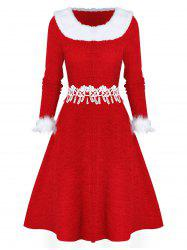 Faux Fur Panel Fit And Flare Christmas Dress -