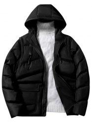 Solid Color Zipper Hooded Puffer Jacket -