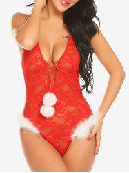 Lace Up Pompons Sheer Lace Teddy -