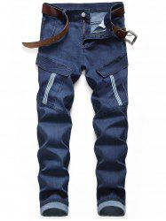 Pocket Decorated Zipper Fly Casual Jeans -