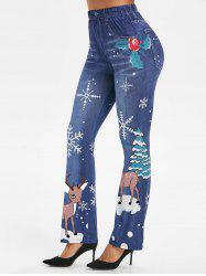 DEER Noël Print jeggings - Bleu Toile de Jean 3XL