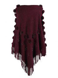 Plus Size Pom Pom Beading Fringed Poncho Sweater -