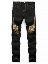 Wing Embroidery Zip Fly Casual Jeans -