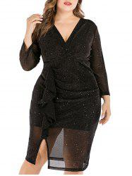 Sparkly Metallic Sequined Slit Ruffles Plus Size Dress -
