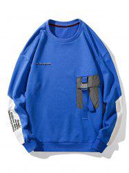 Buckle Pocket Letter Embroidery Casual Sweatshirt -