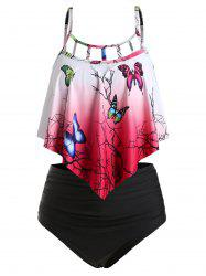 Plus Size Overlay Ombre Butterfly Print Tankini Swimwear -