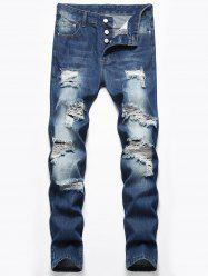 Destroyed Design Button Fly Casual Jeans -