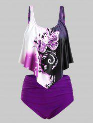 Overlay Flounces Ruched High Waisted Butterfly Print Plus Size Tankini Swimsuit -