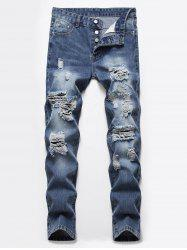 Destroyed Ripped Button Fly Casual Jeans -