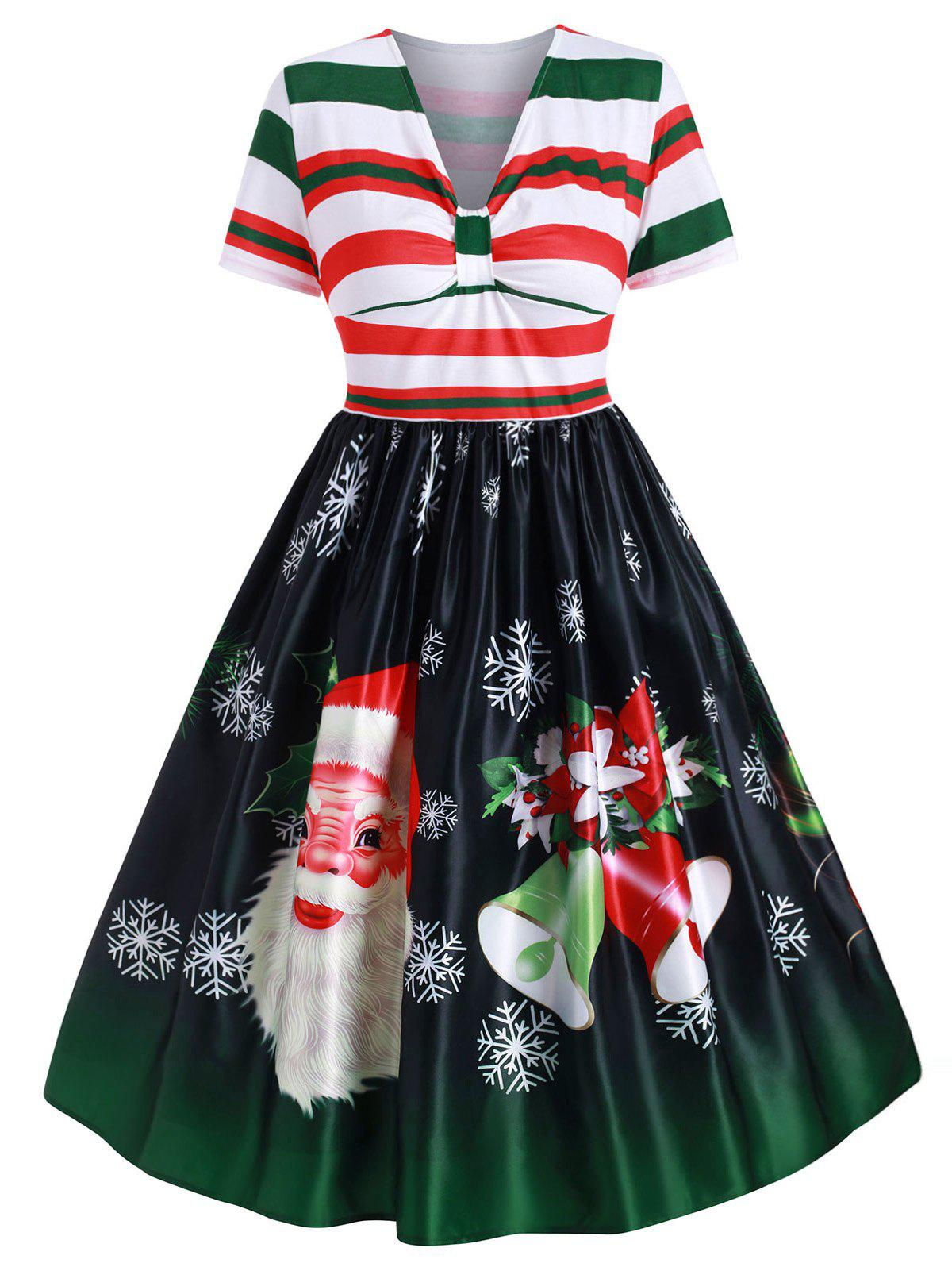 Affordable Plus Size Christmas Vintage Santa Claus Print Party Dress