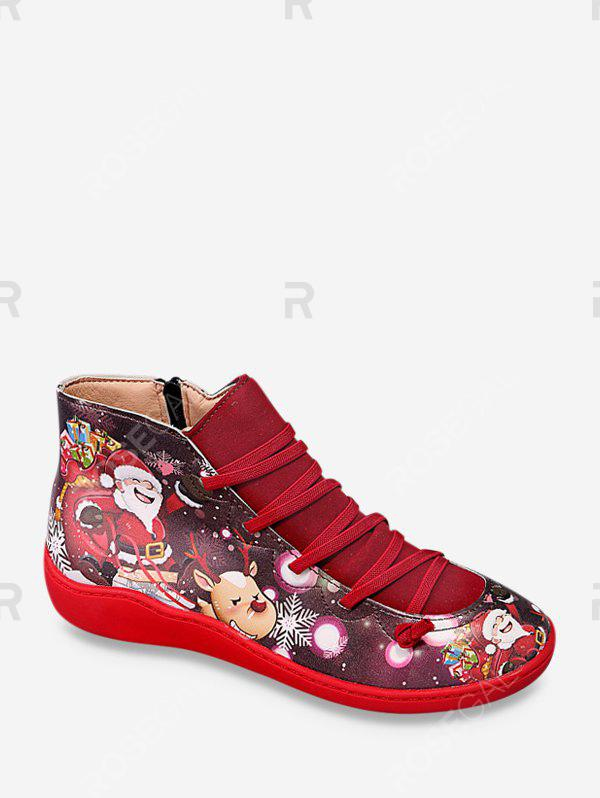 Sale Christmas Santa Print Casual Ankle Boots