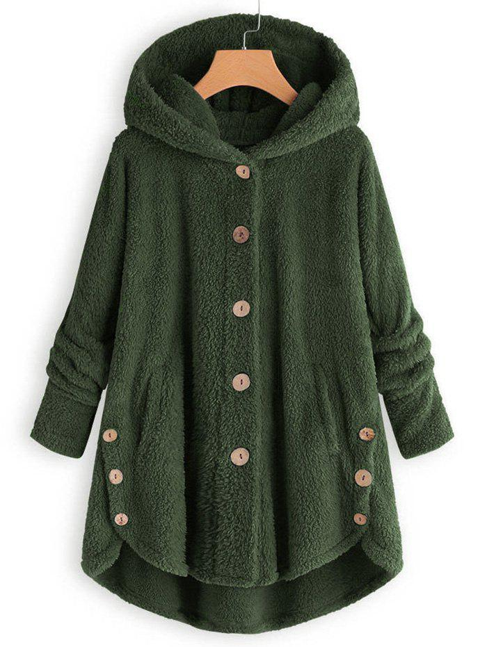 Best Plus Size Faux Shearling Buttons Hooded Coat