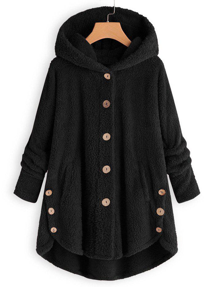 Plus Size Faux Shearling Buttons Hooded Coat фото