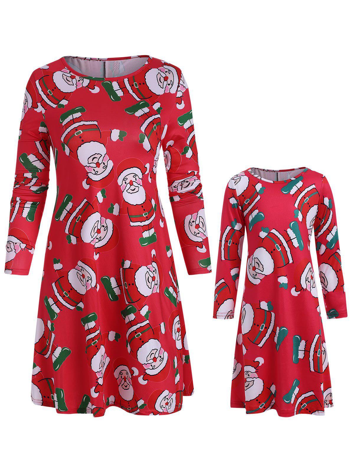 Online Christmas Mother Daughter Long Sleeve Casual Dress