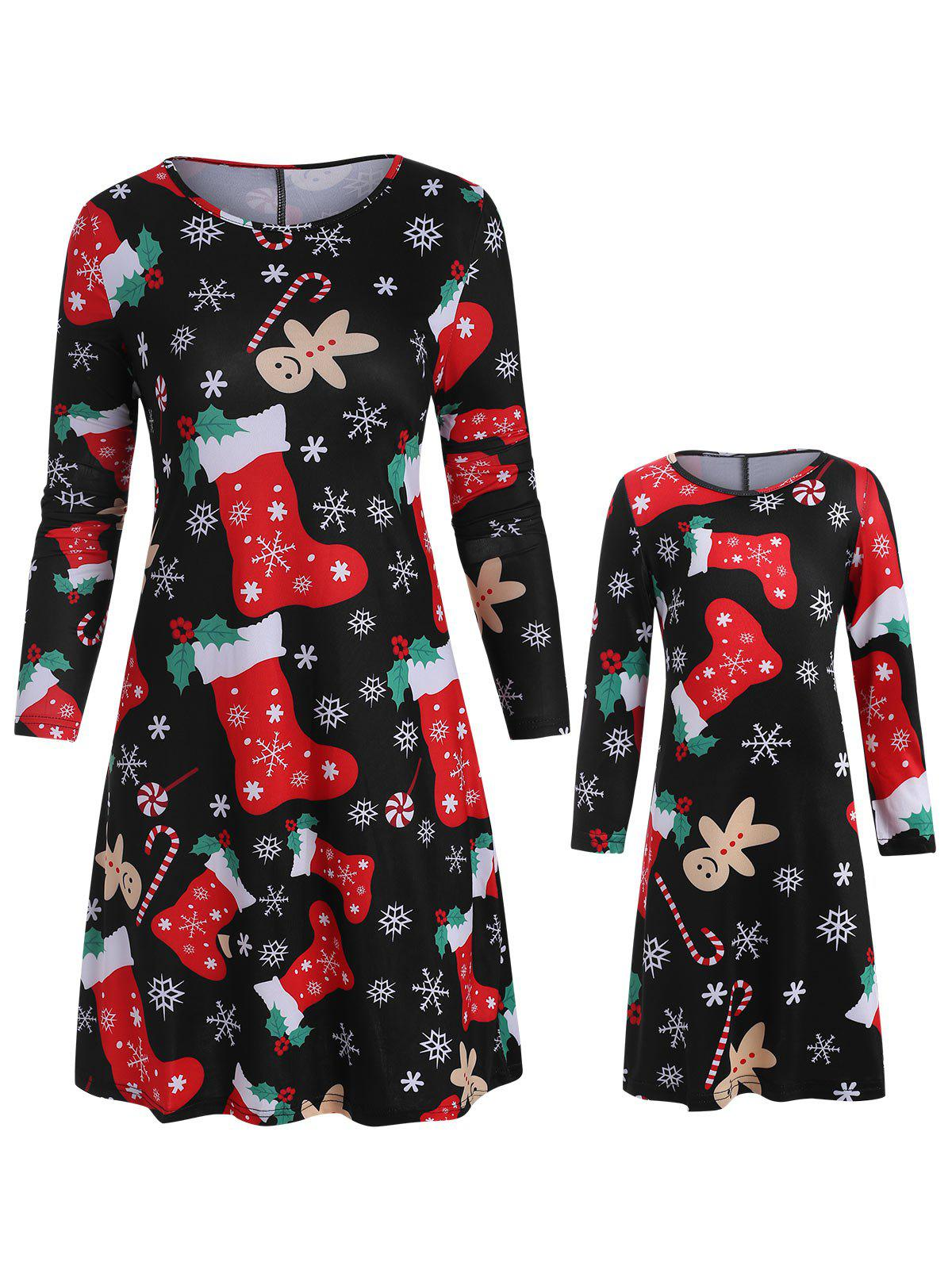 Cheap Christmas Mother Daughter Long Sleeve Casual Dress