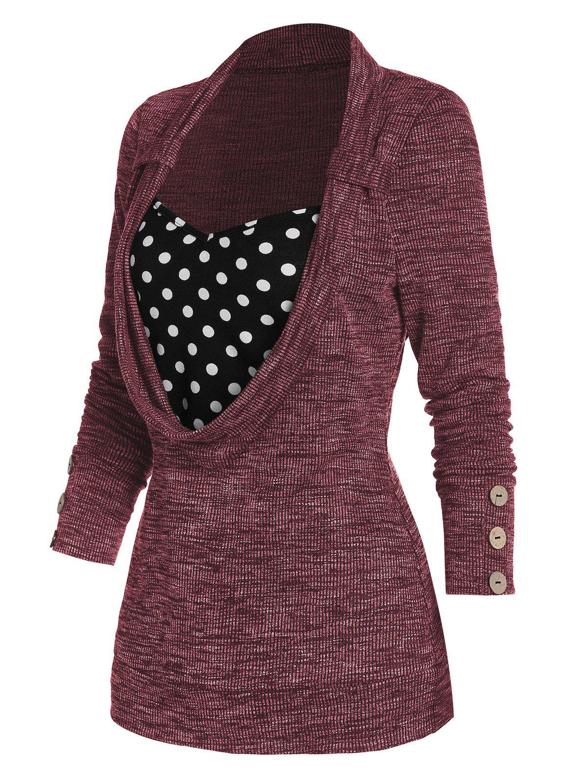 Discount Polka Dot Print Button Embellished Ribbed Faux Twinset Sweater