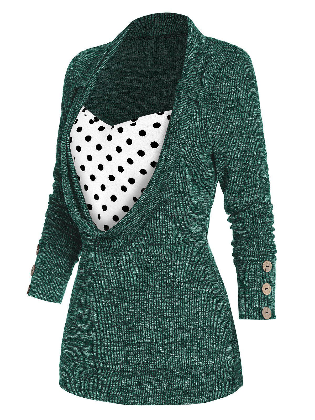 Trendy Polka Dot Print Button Embellished Ribbed Faux Twinset Sweater