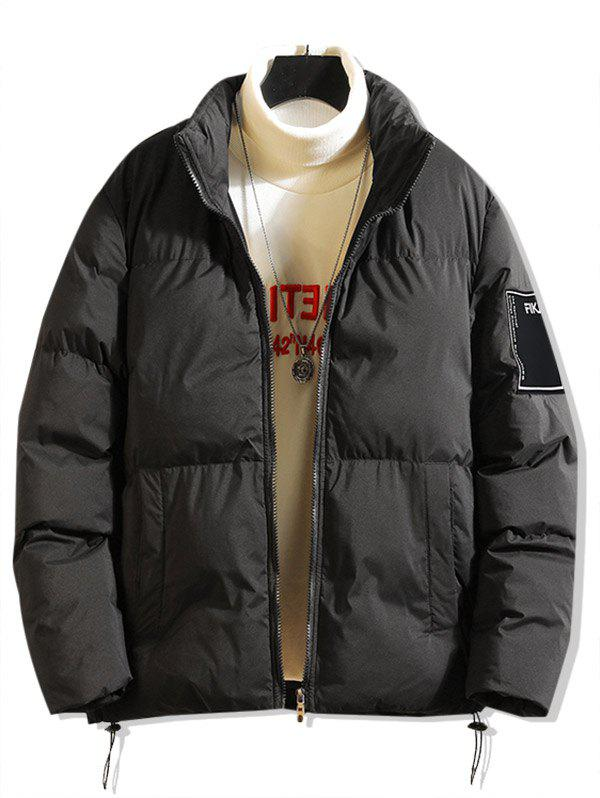New Solid Color Applique Puffer Jacket